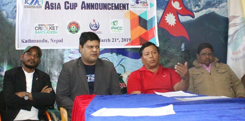 एसिया कप ह्वीलचेयर क्रिकेट प्रतियोगिता नेपालमा हुने, विश्वमै पहिलो पटक हुन लागेको आयोजकको दाबी
