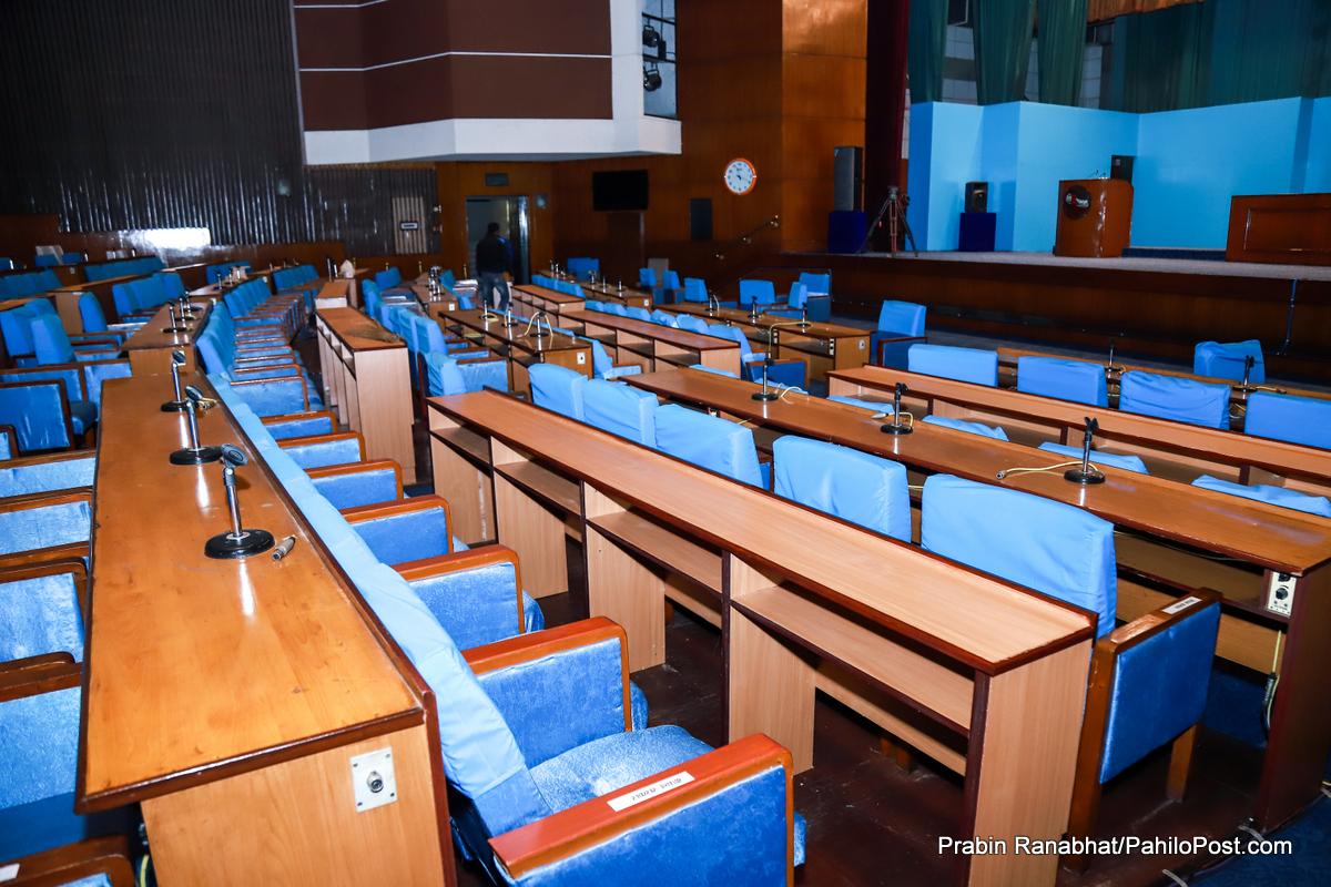 संसदमा अब उचाल्न नमिल्ने कुर्सीः यस्तो बन्दैछ प्रतिनिधि सभाको नयाँ हल, हेर्नुस् फोटोमा