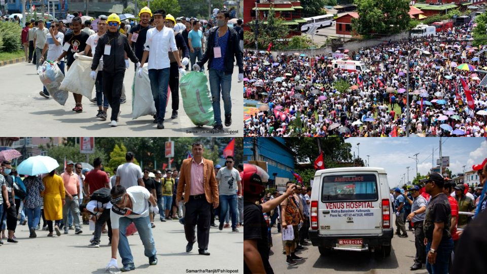 हङकङको शैली पछ्याउँदै नेवा आन्दोलन : एम्बुलेन्सलाई बाटो, सडकको फोहर बटुलबाटुल