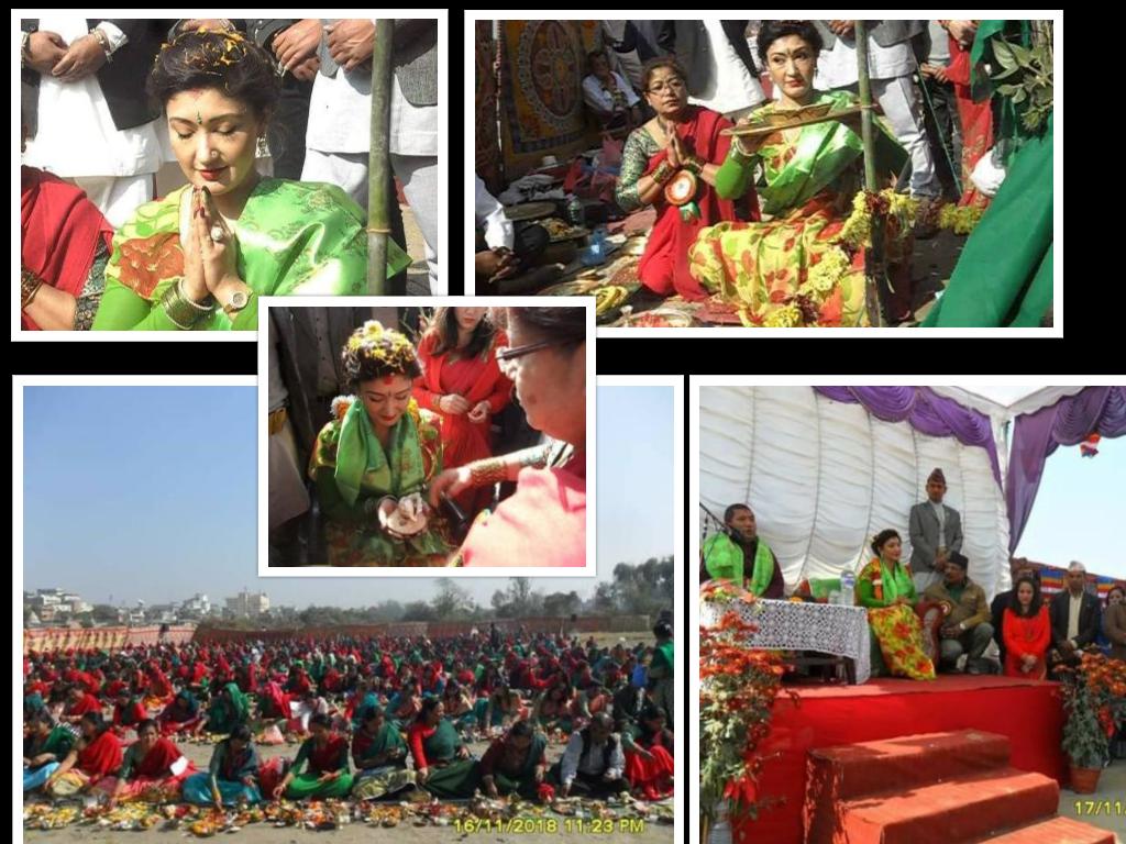 पूर्व युवराज्ञी हिमानी बसिन् आर्यताराको व्रत, नदीमा पूजा विसर्जन गरी प्रसाद ग्रहण