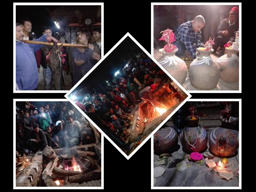मध्यरातमा काठमाडौँमा सर्पाहुति, भेटिएन सर्प, थकू जुजुले दिए माछा, फट्याङ्ग्राको आहुति : यस्तो छ कथा