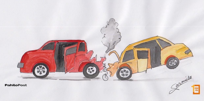 पृथ्वी राजमार्गमा दुई बस जुध्दा एक चालकको मृत्यु, २१ जना घाइते